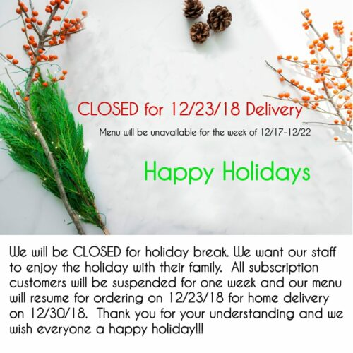 Close for 12/23 Delivery