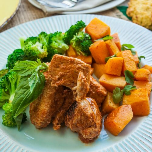 African chicken with roasted butternut squash