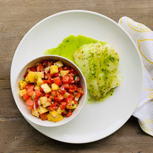 Baked cod with pineapple  salsa