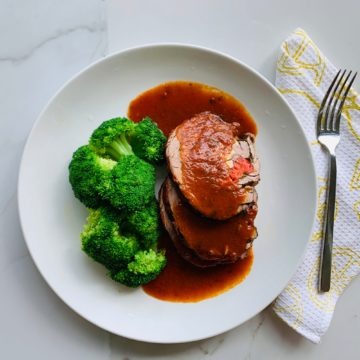 Beef braciole with steamed broccoli