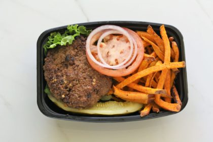 Beef burger and sweet potato fries