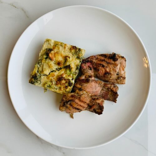 Tangy jerk chicken served with vegetable casserole