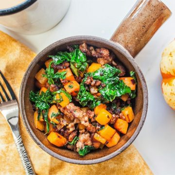 Breakfast: Butternut squash, sweet potato, kale and sausage skillet