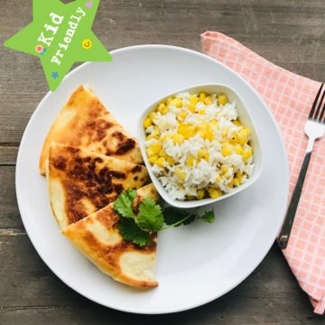 Kid's Menu: Chicken and cheese quesadillas with corn and rice