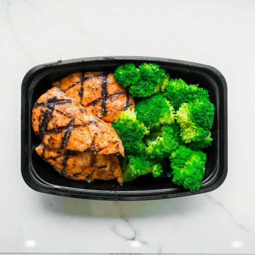 Grilled chicken with steamed broccoli