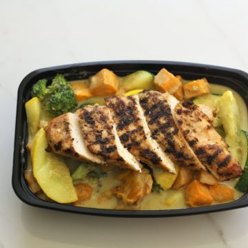 Grilled chicken with butternut squash curry