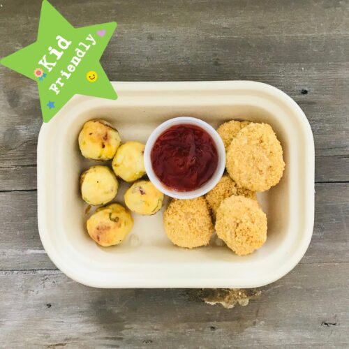 Kid's Menu: Baked Chicken nuggets and potato cakes