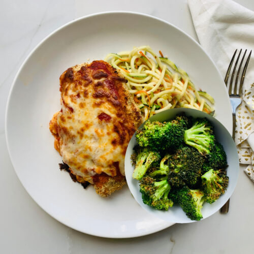 Baked Parmesan Chicken with roasted broccoli