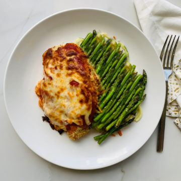 Baked Parmesan Chicken with asparagus