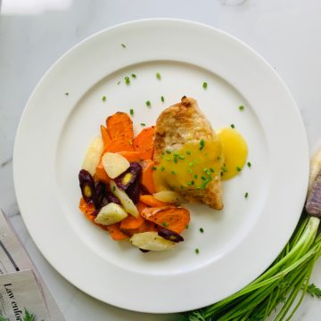 Lemon chive chicken with roasted carrots and broccolini