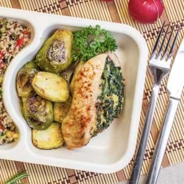Spinach stuffed chicken breast with honey brussels sprouts