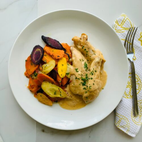 Creamy chipotle chicken with roasted carrots