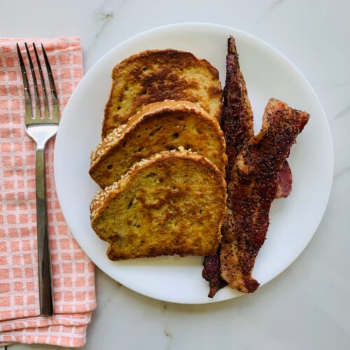 Breakfast: 6 grain French toast with pepper corn bacon(NEW)