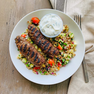 Grilled lamb kebabs with quinoa tabbouleh