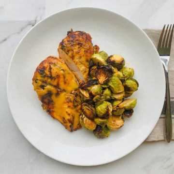 Honey mustard chicken and roasted brussel sprouts