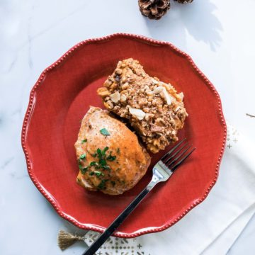 Stuffed chicken breast with sweet potato casserole