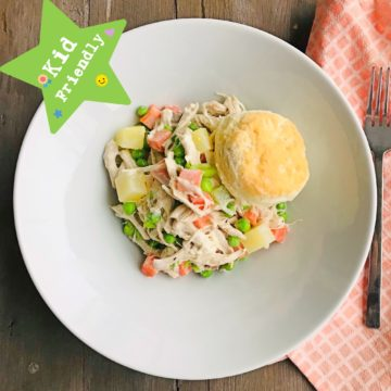 Kid's Menu: chicken pot pie with biscuit