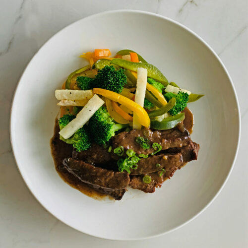 Mongolian beef with jicama and vegetables stir fry