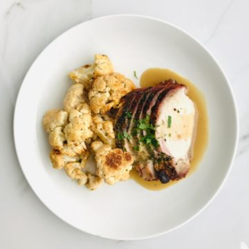 Herb roasted pork Loin with roasted cauliflower
