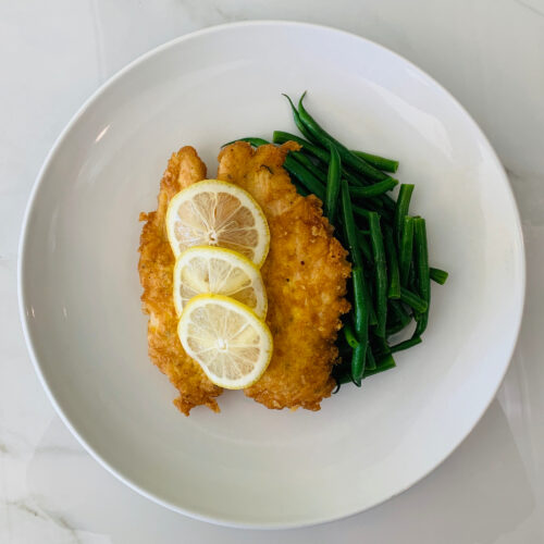 Chicken Romano with french green beans