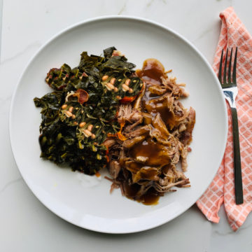 Slow cooked pork with braised collard green