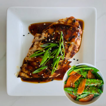 Teriyaki chicken served with Asian vegetables
