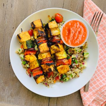 Vegetarian: Grilled tofu kebabs with spring vegetable quinoa