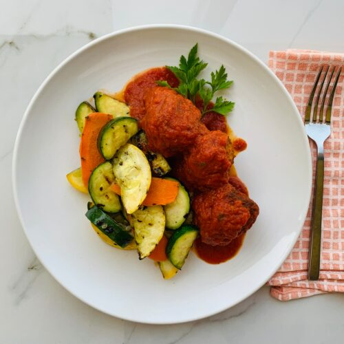 Turkey meatballs with grilled zucchini and squash