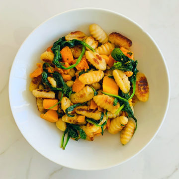 Vegetarian: chick pea spinach and butternut gnocchi