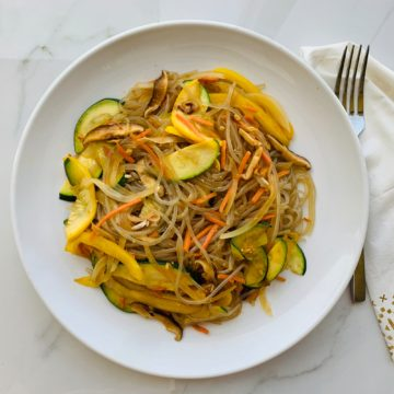 Vegan: Korean sweet potato noodle (Japchae )