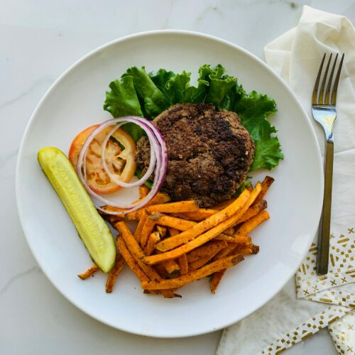 Beef black bean burger with baked sweet potato