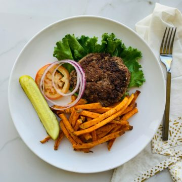 burger and sweet potato fries