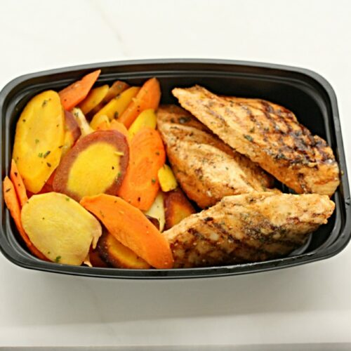 The basic: Grilled chicken with roasted carrots
