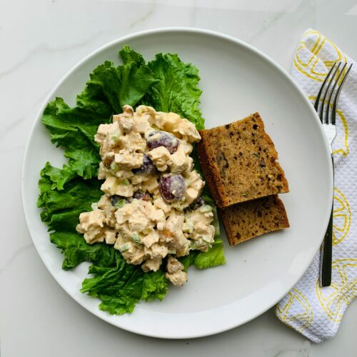 Protein-packed chicken salad with zucchini bread