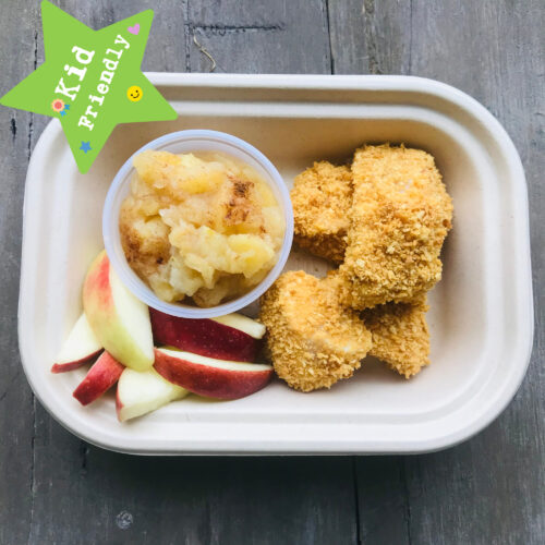 Kid's Menu: chicken poppers with house made apple sauce