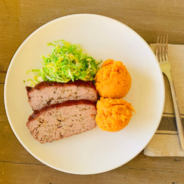 Meatloaf with mashed sweet potato and brussel sprout