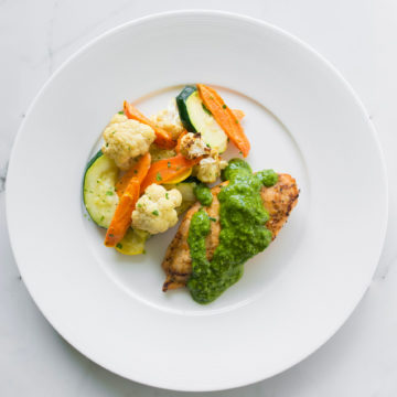 Grilled pesto chicken with oven roasted vegetable