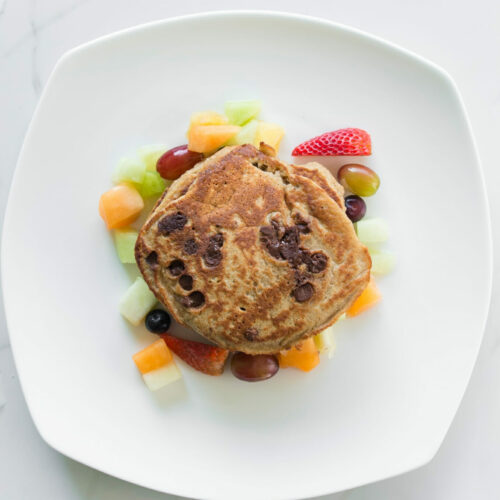 Blueberry banana protein pancakes and fruit