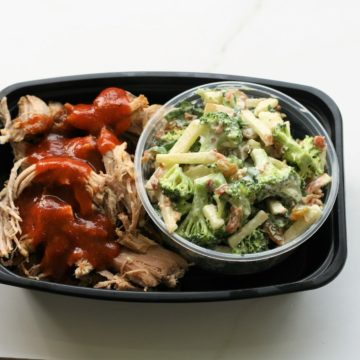 Pulled pork with broccoli salad