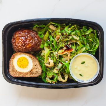 Turkey Scotch eggs served with stir fried cabbage noodle