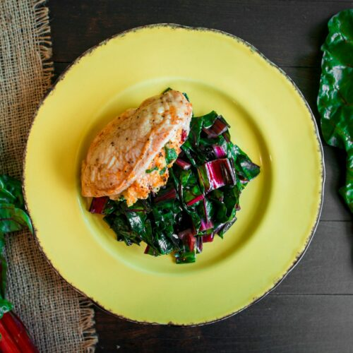 Stuffed chicken breast served with Swiss chard