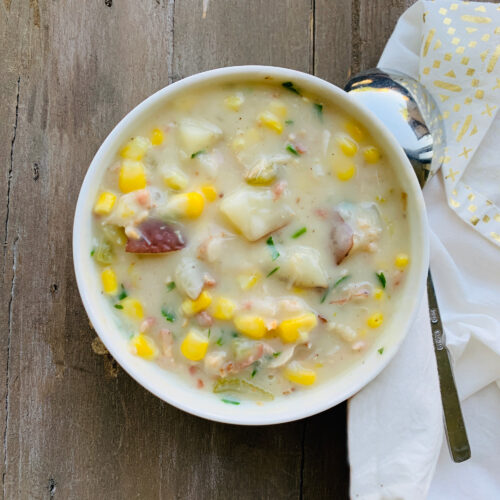 Soup: Corn and crab chowder